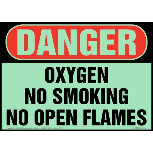 Danger: Oxygen, No Smoking/Open Flames - OSHA, Glow In The Dark (012646)