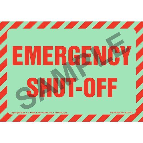 Emergency Shut-Off Label - Glow In The Dark (012647)