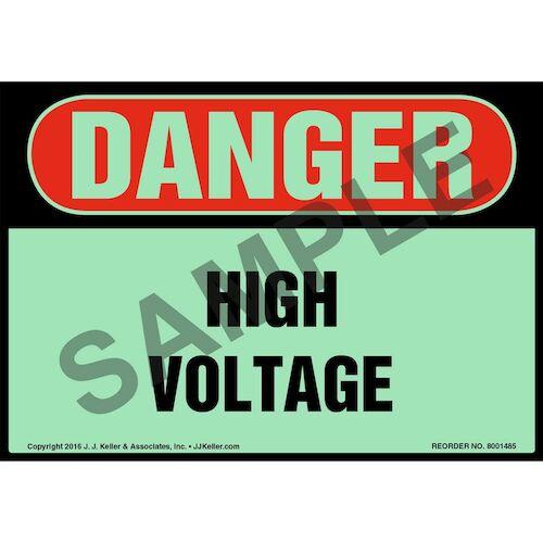 Danger: High Voltage Label - OSHA, Glow In The Dark (012649)