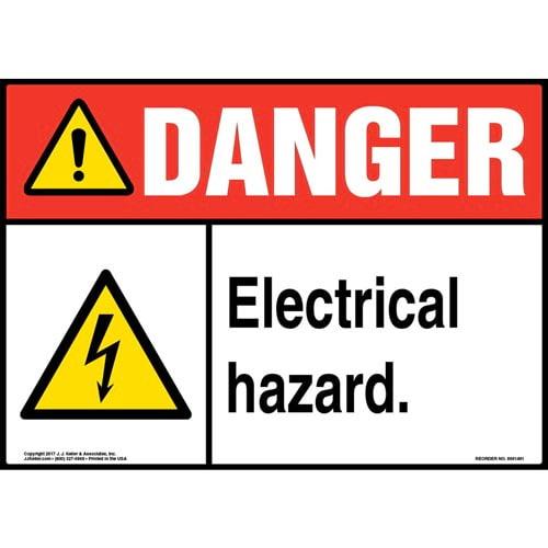 Danger: Electrical Hazard Sign - ANSI, Glow In The Dark (012655)