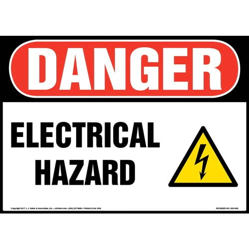 Danger: Electrical Hazard Sign - OSHA, Glow In The Dark (012656)