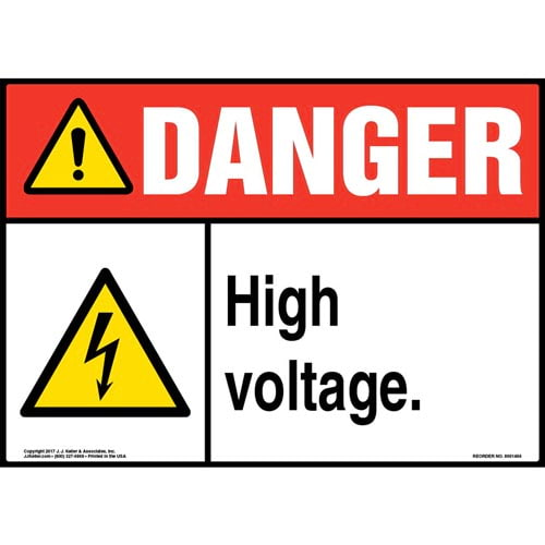 Danger: High Voltage Sign with Icon - ANSI, Glow In The Dark (012658)