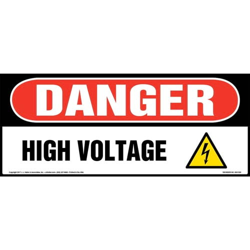 Danger: High Voltage Sign with Icon - OSHA, Long Format, Glow In The Dark (012662)