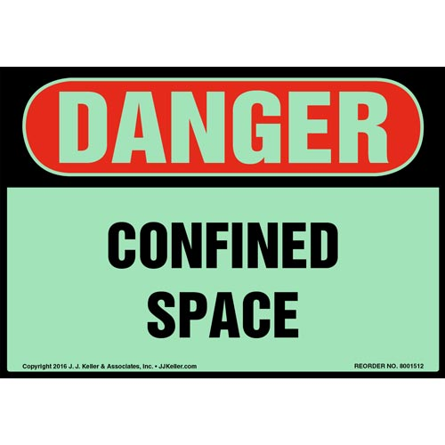 Danger: Confined Space Label - OSHA, Glow In The Dark (012668)