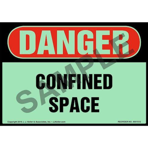 Danger: Confined Space Label - OSHA, Glow In The Dark (012668)