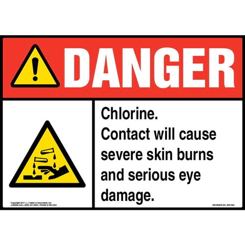 Danger: Chlorine Sign with GHS Corrosion Icon - ANSI (012833)