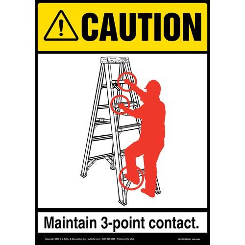 Caution: 3-Point Contact Portable Step Ladder - ANSI Sign (012838)
