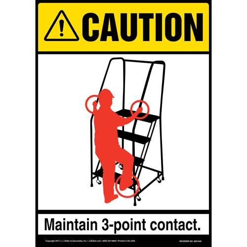 Caution: 3-Point Contact Mobile Ladder Stand - ANSI Sign (012839)