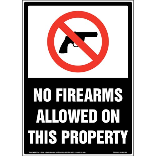 No Firearms Allowed On This Property - English Sign with Graphic (012945)