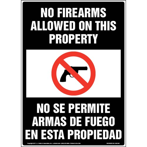 No Firearms Allowed On This Property - English & Spanish Sign with Graphic (012946)