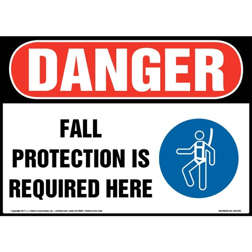 Danger: Fall Protection Is Required Here - OSHA Sign with Graphic (012950)