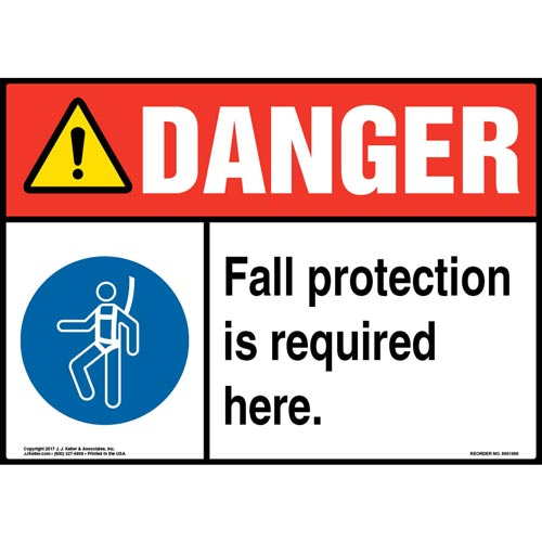 Danger: Fall Protection Is Required Here - ANSI Sign with Graphic (012951)