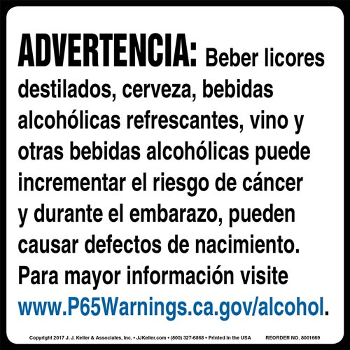 California Prop 65: Alcoholic Beverages Warning Label - Spanish (012964)