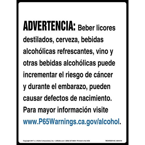California Prop 65: Alcoholic Beverages Warning Sign - Spanish (012965)