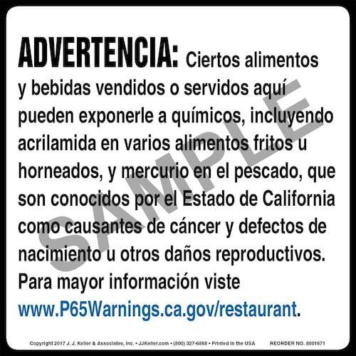 California Prop 65: Restaurants Warning Label - Spanish (012966)