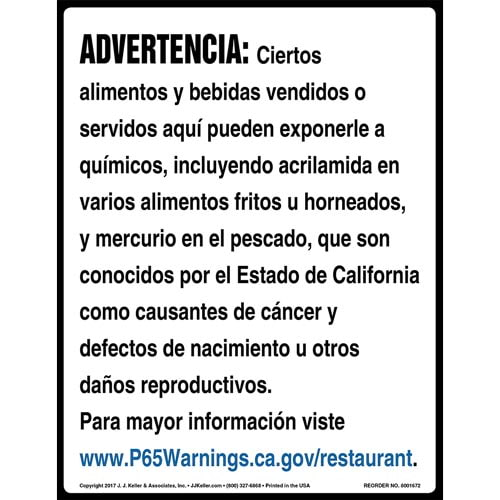 California Prop 65: Restaurants Warning Sign - Spanish (012967)