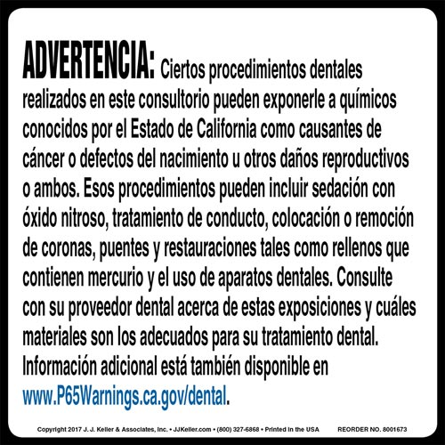 California Prop 65: Dental Procedure Warning Label - Spanish (012968)
