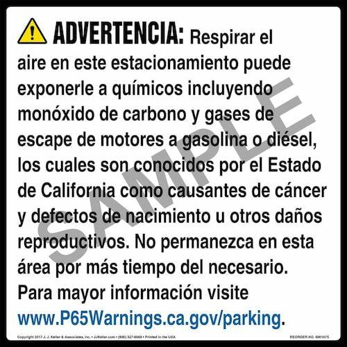 California Prop 65: Parking Facility Warning Sign - Spanish (012970)