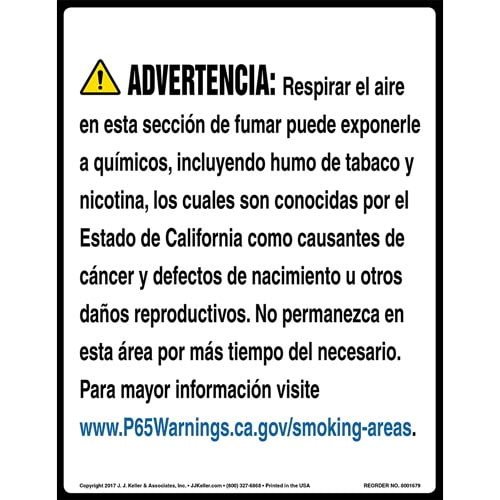 California Prop 65 Spanish Warning Sign: Smoking Area Contains Chemicals Known to Cause Cancer/Reproductive Harm (012974)