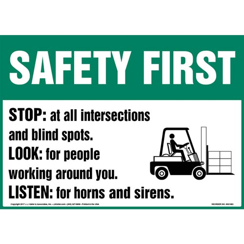 Safety First: Stop, Look & Listen - OSHA Sign with Graphic (012978)
