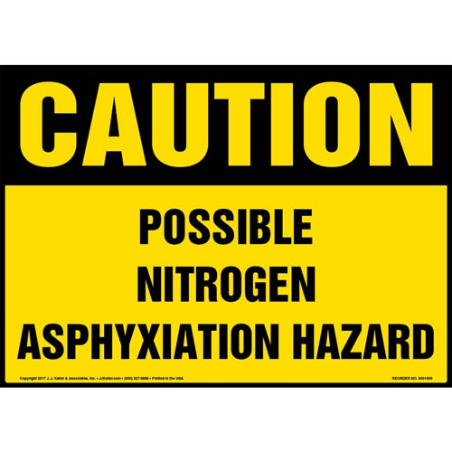 Caution: Possible Nitrogen Asphyxiation Hazard Sign - OSHA (013106)