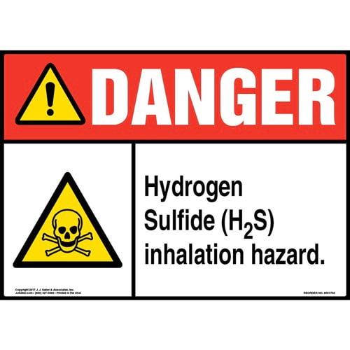 Danger: Hydrogen Sulfide (H2S) Inhalation Hazard Sign with Icon - ANSI (013254)