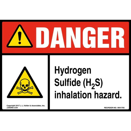 Danger: Hydrogen Sulfide (H2S) Inhalation Hazard Label with Icon - ANSI (013255)