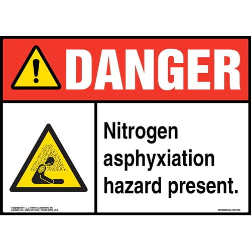 Danger: Nitrogen Asphyxiation Hazard Present Sign with Icon - ANSI (013256)