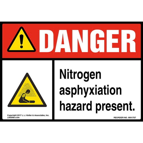 Danger: Nitrogen Asphyxiation Hazard Present Label with Icon - ANSI (013257)