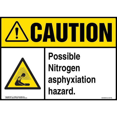 Caution: Possible Nitrogen Asphyxiation Hazard Sign with Icon - ANSI (013258)
