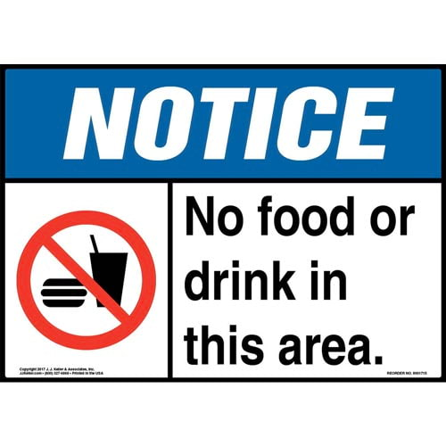 Notice: No Food Or Drink In This Area Sign with Icon - ANSI (013262)