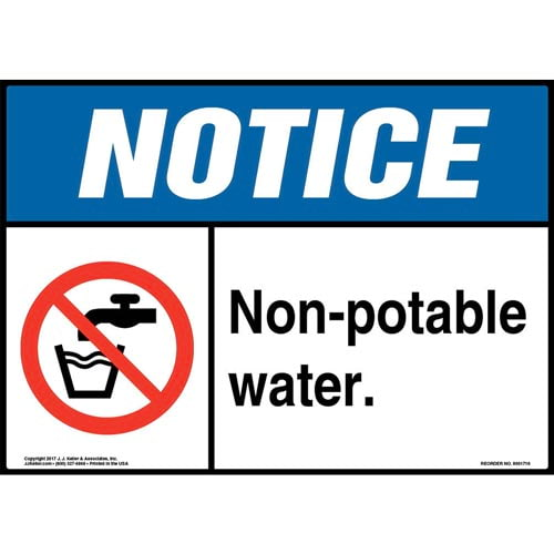 Notice: Non-Potable Water Sign with Icon - ANSI (013263)