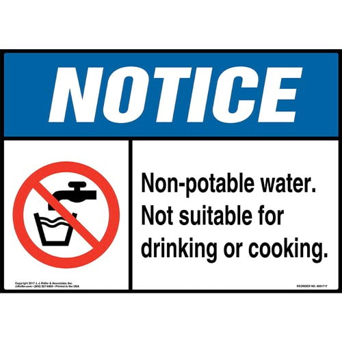 Notice: Non-Potable Water. Not Suitable For Drinking Or Cooking  Sign with Icon - ANSI (013264)