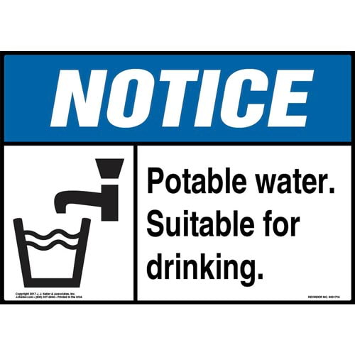 Notice: Potable Water. Suitable For Drinking Sign with Icon - ANSI (013265)