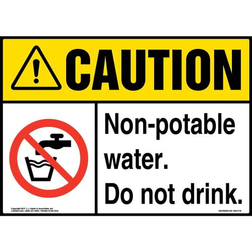 Caution: Non-Potable Water. Do Not Drink Sign with Icon - ANSI (013266)