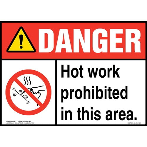 Danger: Hot Work Prohibited In This Area! Sign with Icon - ANSI (013271)
