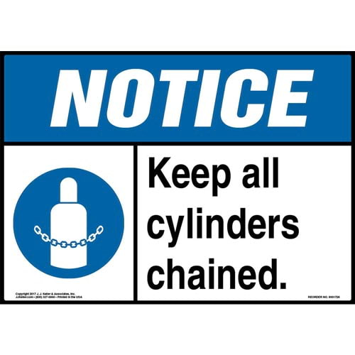Notice: Keep All Cylinders Chained Sign with Icon - ANSI (013273)