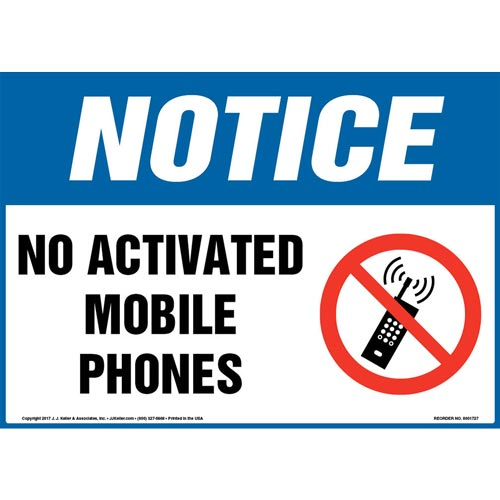 Notice: No Activated Mobile Phones Sign with Icon - OSHA (013274)