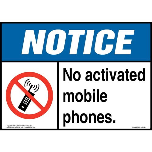 Notice: No Activated Mobile Phones Sign with Icon - ANSI (013275)