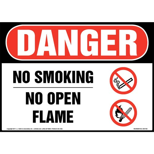 Danger: No Smoking No Open Flame Sign with Icon - OSHA (013276)