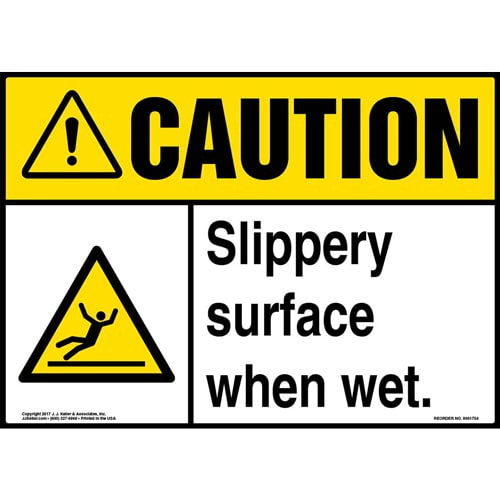 Caution: Slippery Surface When Wet Sign with Icon - ANSI (013281)