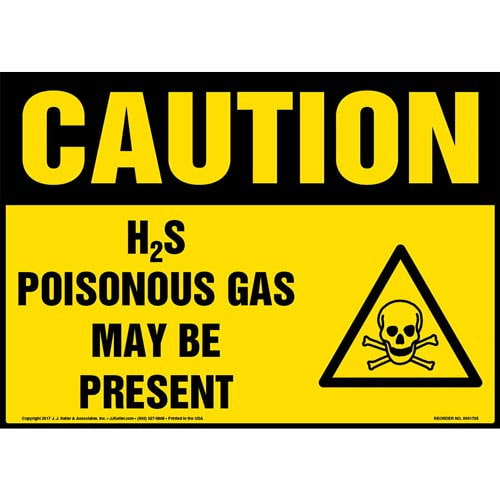 Caution: H2S Poisonous Gas May Be Present Sign with Icon - OSHA (013282)