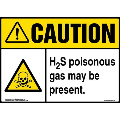 Caution: H2S Poisonous Gas May Be Present Sign with Icon - ANSI (013283)