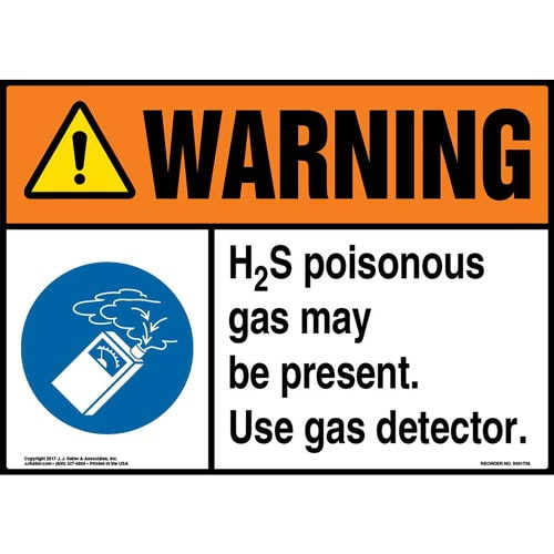 Warning: H2S Poisonous Gas May Be Present. Use Gas Detector Sign with Icon - ANSI (013284)