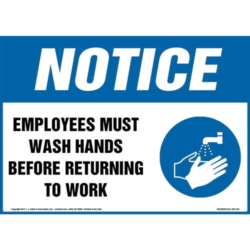 Notice: Employees Must Wash Hands Before Returning To Work Sign with Icon - OSHA (013286)