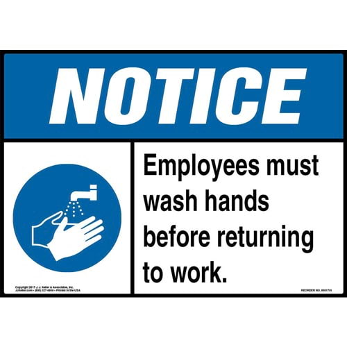 Notice: Employees Must Wash Hands Before Returning To Work Sign with Icon - ANSI (013287)