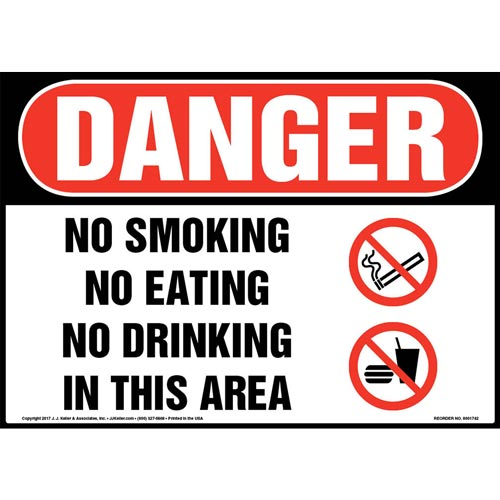 Danger: No Smoking No Eating No Drinking In This Area Sign with Icon - OSHA (013288)