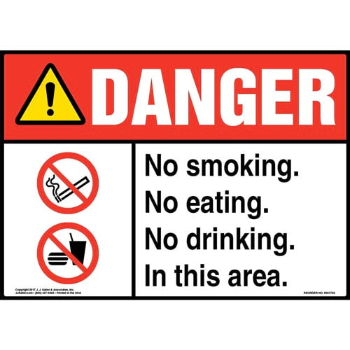 Danger: No Smoking. No Eating. No Drinking. In This Area Sign with Icon - ANSI (013289)