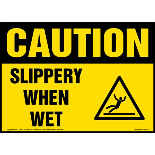 Caution: Slippery When Wet Sign with Icon - OSHA (013360)