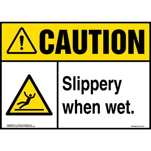 Caution: Slippery When Wet Sign with Icon - ANSI (013361)